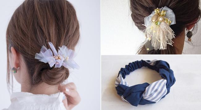 花粉から肌を守る!簡単まとめ髪が可愛くきまるヘアアクセ