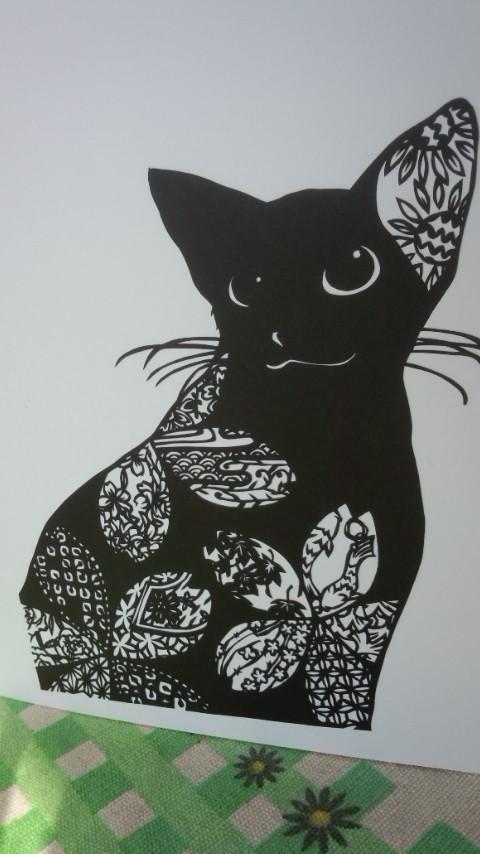 切り絵 和柄猫○