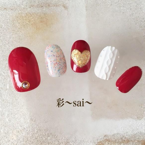 ホワイト/ニットネイル/冬ネイル/ぷっくりハート ネイルチップ 彩〜sai〜