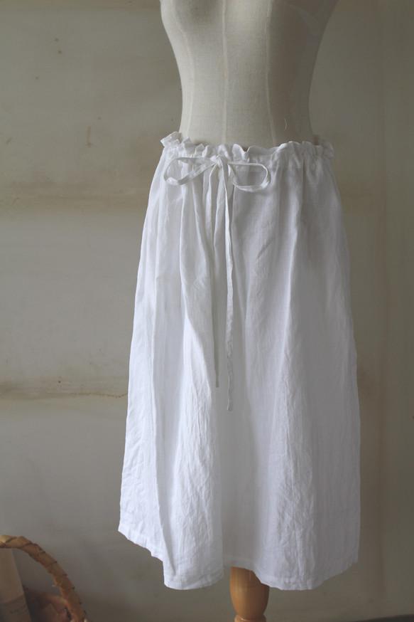 6203e2f1cb8919 リネンギャザーロングスカート ホワイト*リトアニアリネン* スカート inago