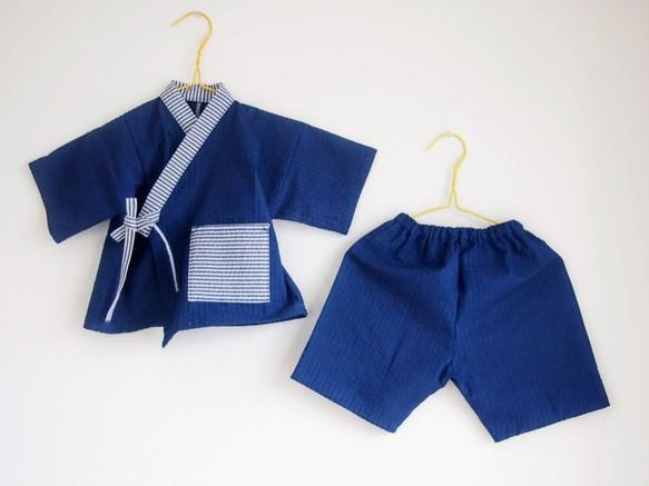 207d0dd3d0c13 インディゴ&ストライプの甚平 80cm~110cm ベビー服 hanayura ...