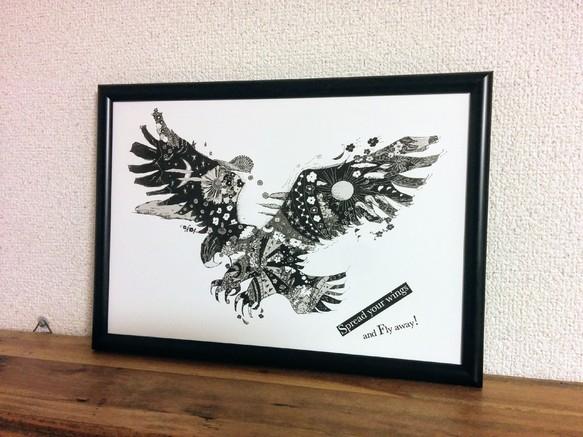 Eagle Ver2 鷲 モノトーン アートポスター オリジナルイラスト A4b4a3