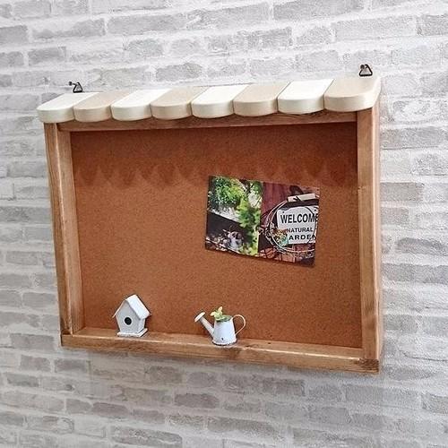 カフェメッセージボード 幅44cm 奥行6.3cm 高さ35cm コルク製 壁掛け型 ベージュ カントリー家具