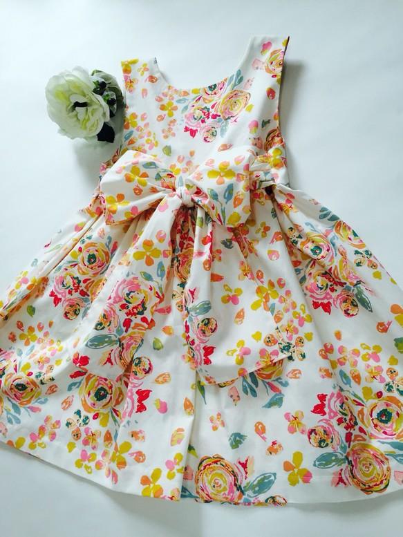 3bd86cfdfb69c トロピカルな花柄ワンピース キッズ (100〜120サイズ) 子供服 petit pied ...
