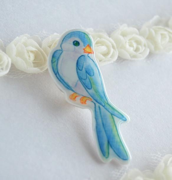 青い鳥ブローチ