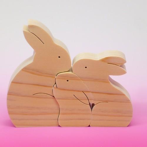 送料無料 木のおもちゃ 動物組み木 うさぎの家族