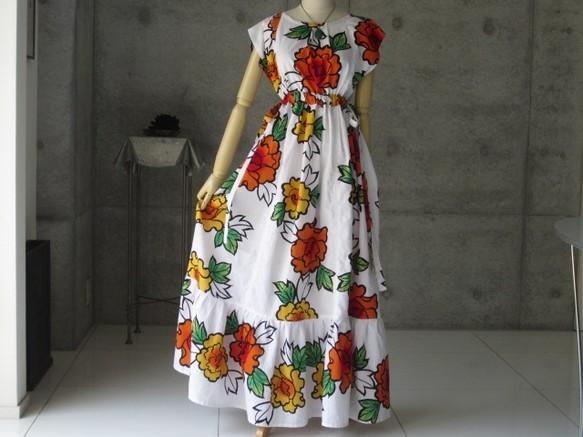 61b29a25f8383 牡丹の花のロングワンピース 着物リメイク ワンピース・チュニック COCORO