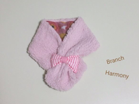 5dd98e83d0835 モコモコマフラー ☆ リボン (ピンク × 花柄) ベビー ベビー服 BrancH ...
