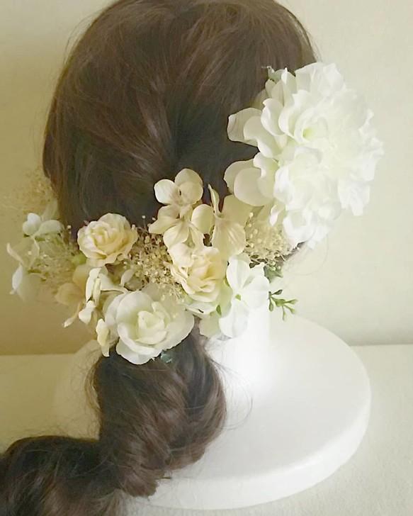 8da8529b046cf オールホワイトのアーティシャルフラワーヘッドドレス 結婚式 海外ウェディング 二次会 パーティ 披露宴 前撮りetc ヘッドドレス(ウェディング)  r.eve.r