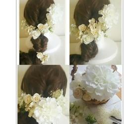 865f1422c434c オールホワイトのアーティシャルフラワーヘッドドレス 結婚式 海外ウェディング 二次会 パーティ 披露宴 前撮りetc