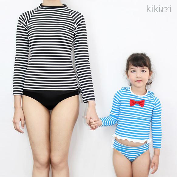 【水着セット】ママとおそろい♪ フリルたっぷりのラッシュガードの長袖水着