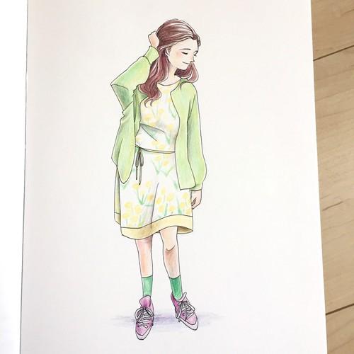 色鉛筆画 ワンピースの女の子 イラスト Taiyoukei 通販 Creema クリーマ ハンドメイド 手作り クラフト作品の販売サイト