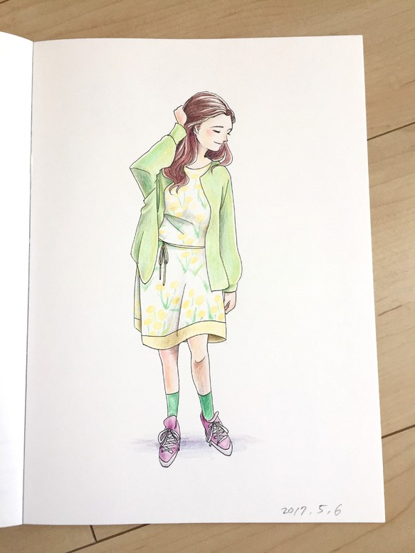 色鉛筆画 ワンピースの女の子 イラスト Taiyoukei 通販creemaクリーマ