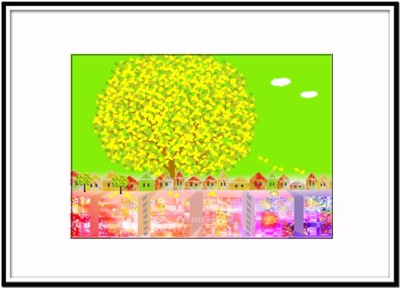 秋イチョウの樹の下で イラストa4サイズポスターno297 イラスト