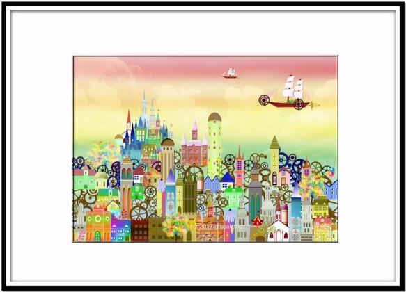 秋の空と町のこころ イラストa4サイズポスターno306 イラスト 銀河