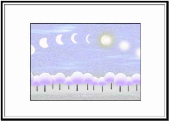 お日様とお月様が会う時間 イラストa4サイズポスターno354 イラスト