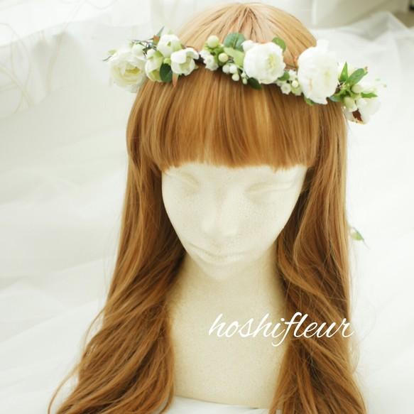 花かんむりウェディング♡花冠ウエディング花冠結婚式花冠ナチュラル花冠白花冠