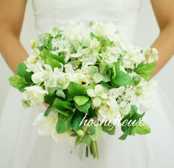 クラッチブーケ+ブートニア♡ウエディングブーケウェディングブーケ結婚式ブーケ白ブーケグリーンブーケナチュラルブーケブー