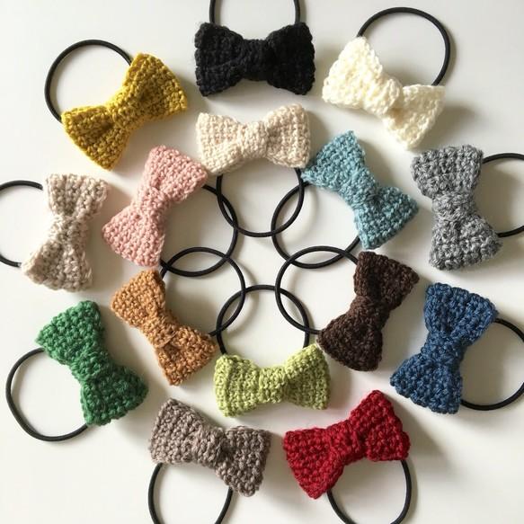 手編みの毛糸リボンヘアゴム