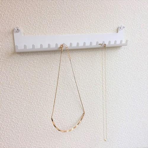 壁掛けアクセサリー簡単収納 B type(ネックレス用)ホワイトの写真