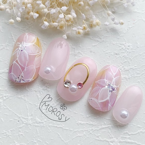 MOROSY132☆春 レース フラワー 花 ピンク ブライダル ネイルチップ