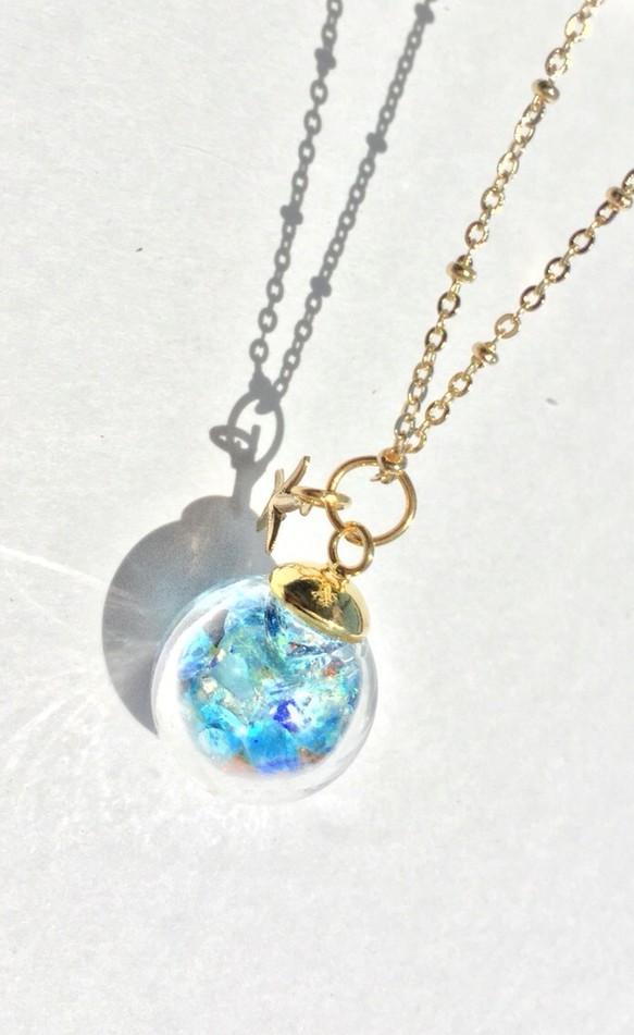 沖縄の風 琉球ガラスのガラスドームネックレス