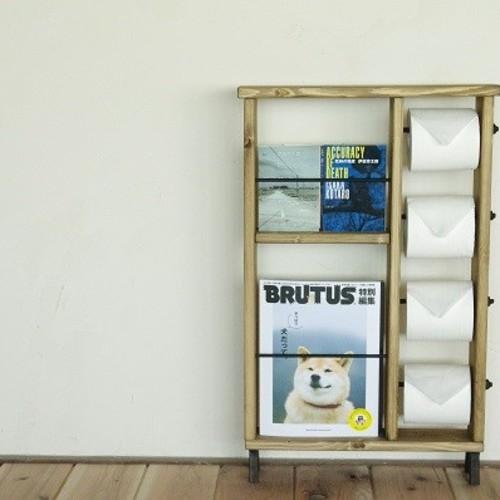 トイレ図書 ブックシェルフ&トイレットペーパーホルダー