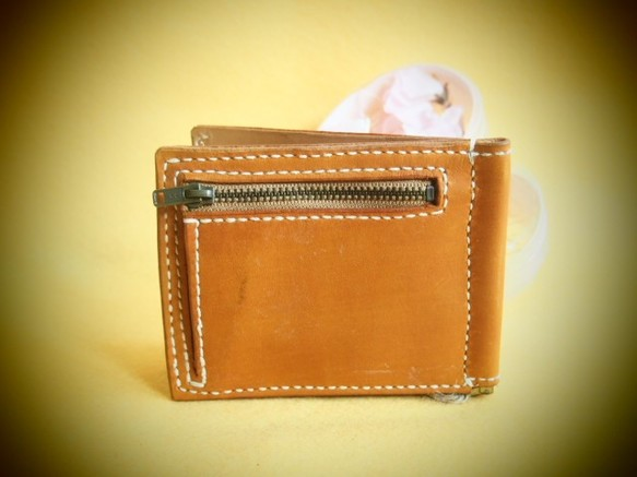f61c4bcf4363 茶色の二つ折りクリップ革財布(MS-013)※わけあり 財布・二つ折り財布 オッカン. ハンドメイド通販・販売 Creema ...
