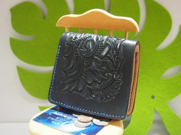 a1a8a0aa171e (※セール)ショート財布・カービングネイビー 財布・二つ折り財布 オッカン. ハンドメイド通販・販売 Creema ...
