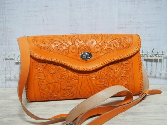 ca6e9819093f セール品)オレンジ色の革ショルダーバッグ ショルダーバッグ オッカン 通販 ...