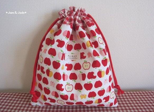 可愛いリンゴとチェックの巾着袋 体操着入れ、お着替え袋、給食袋などに・・30×25cm フォントタグ 入園入学