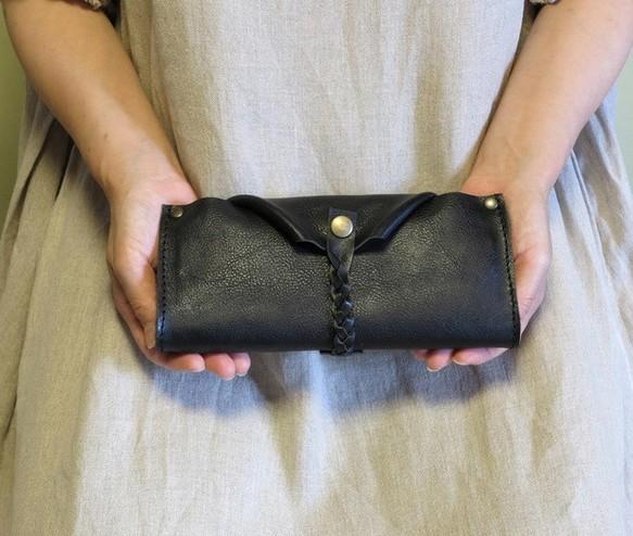 f888f41541f1 ガバっと開く大きな革の長財布/黒レザー財布/gabatto-ブラック 長財布 ベコレザースタジオ