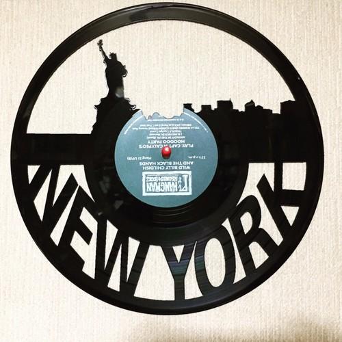 レコードで作った壁かけプレートNEW YORK