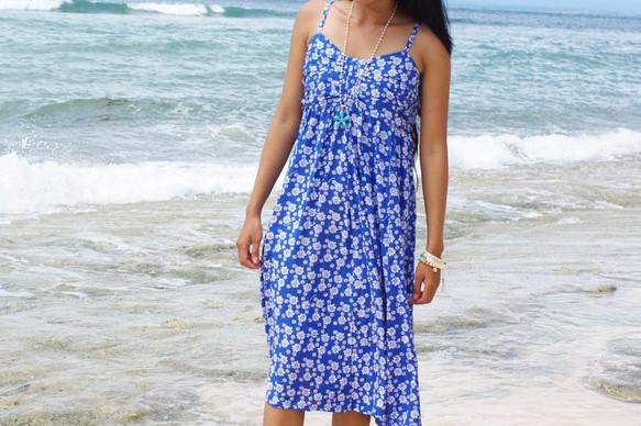 9fa797b106c72 小花柄リボンドレス <ブルー> ワンピース・チュニック bluewaters