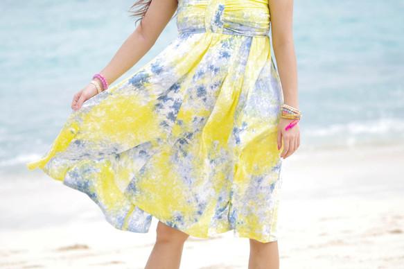606784d6bf23d ムラ染めリボンドレス <サマーレモン> ワンピース・チュニック bluewaters