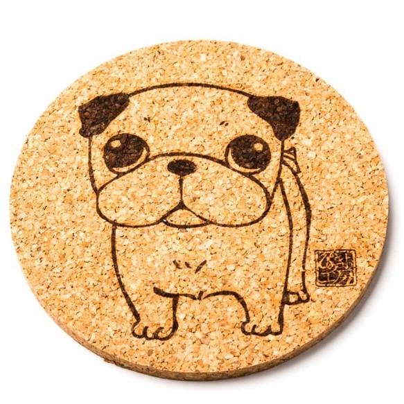 パグ白 犬 グッズ コースター 雑貨 プレゼント ギフト かわいい