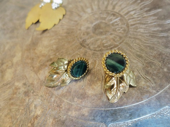 ed33f633565fee リーフイヤリング ヴィンテージグリーン vintage earrings <ER-lfgr ...