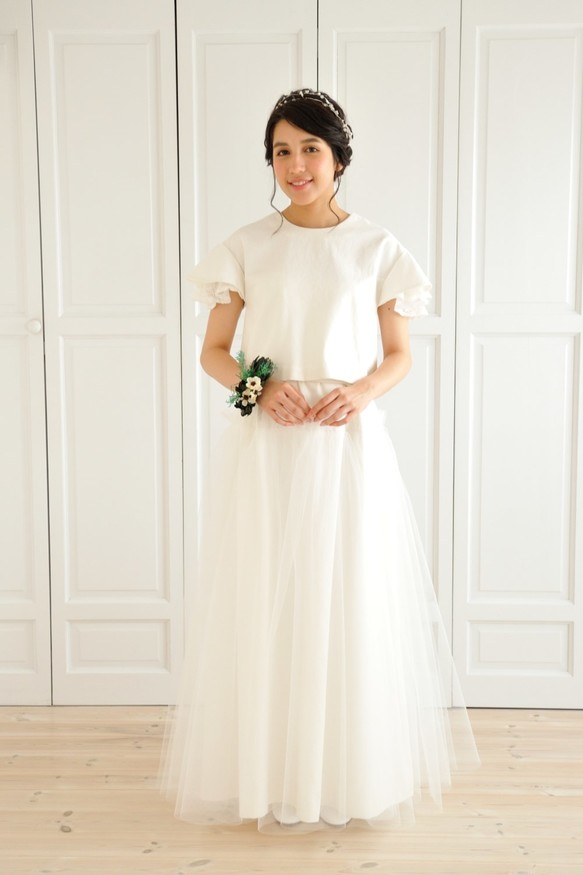 fe9a361a8c330 ホワイトデニムとチュールのツーピースウェディングドレス ドレス ...