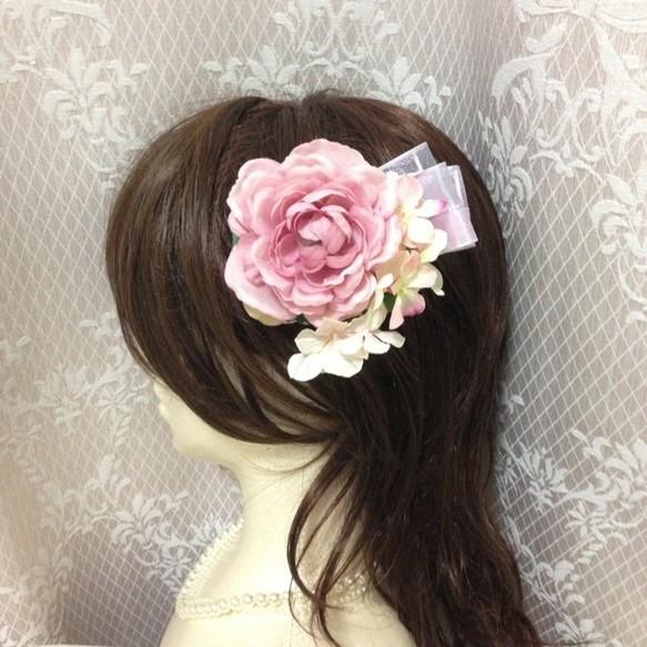 バラと紫陽花とオーガンジーリボンのヘッドドレス 髪飾り