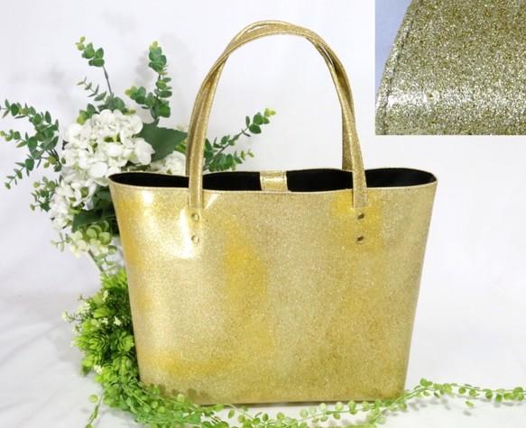 牛革★A4★撥水★きらきらゴールドのシンプルトート②(8850)   kazunのトートバッグ