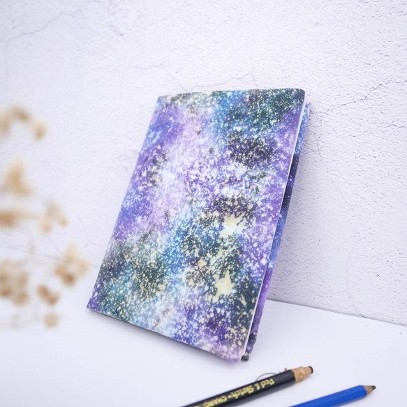 Adjustable Fabric Book Cover : Starry sky hadmade tie dye book cover for a adjustable