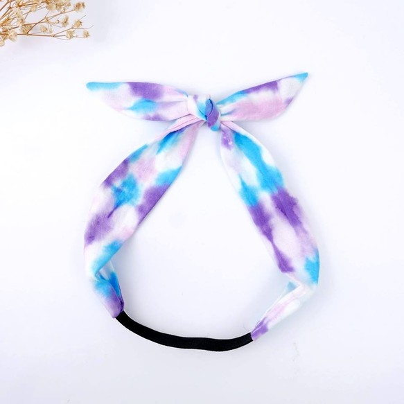 tie dye handmade headband elastic band blue steps ヘア