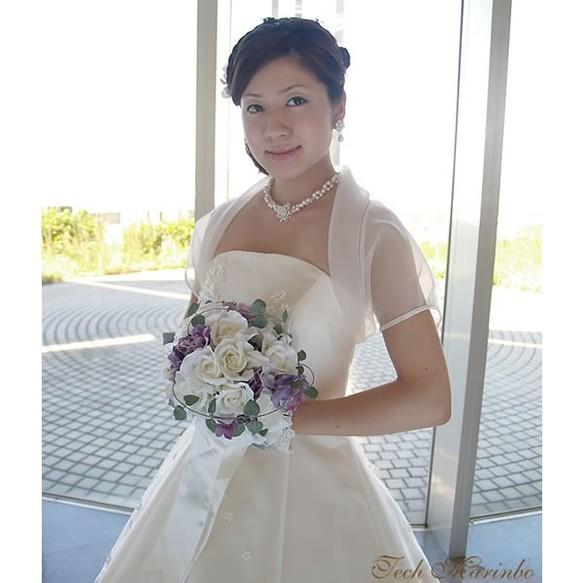 f542758501e71 ふんわり衿のオーガンジーボレロ 結婚式 披露宴 ウェディングドレス 半袖 ...