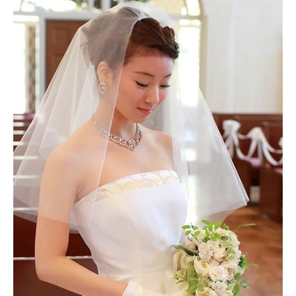db9a5086a1960 ショートベール ウエディング シンプル 装飾なし ホワイト オフホワイト アイボリー 結婚式