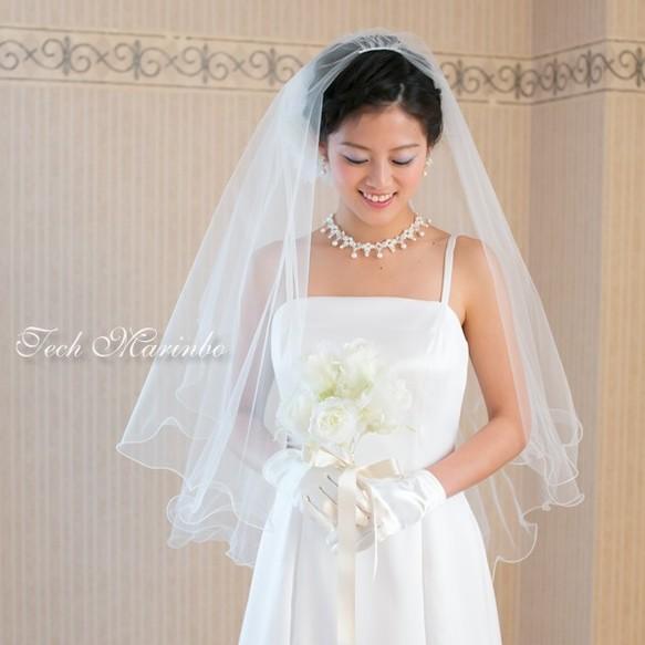 8a64e5b7b2564 ミドル丈 ウェディングベール ふわふわメロウ ホワイト オフホワイト アイボリー 結婚式 披露宴