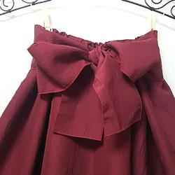 beadf91997cb2e ワインレッドのリボン付き タックギャザースカート パーティー、結婚式にも! リボン取外し着回し出来ます。 スカート MADAM*MICHIYO  通販|Creema(クリーマ) ...