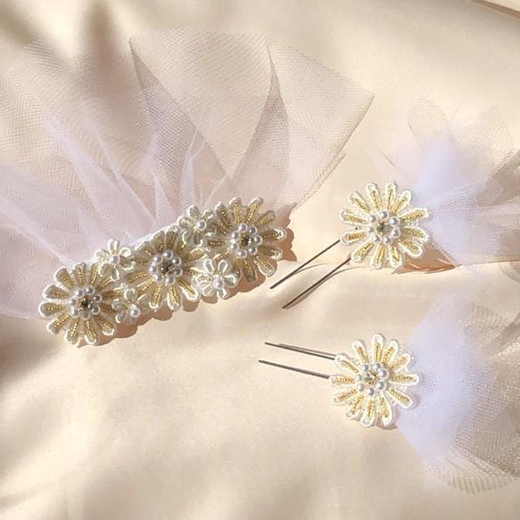 059a0332d542a アンティークビジューが輝くマーガレットのヘッドドレス 結婚式 前撮り 二次会に