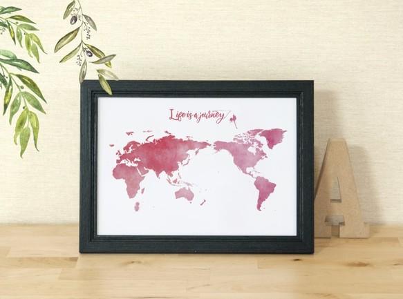送料無料a4世界地図ポスター レッドセルフプリント イラスト A L