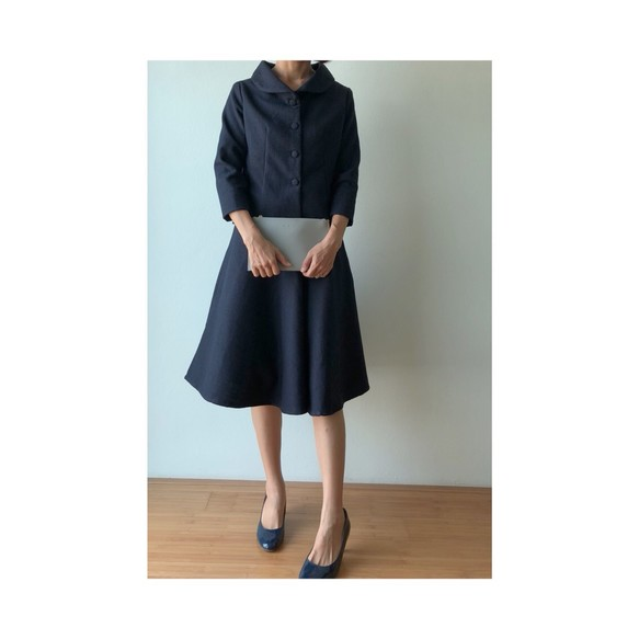 07e05fdd2088f SET スーツ 紺色 セットアップ 受注製作 裏地あり 冠婚葬祭 式 ツイード ワンピース・チュニック tenoshigoto