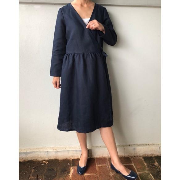 487771e8dbfed カシュクールワンピース 紺色 リネン コート ギャザー ネイビー ワンピース・チュニック tenoshigoto